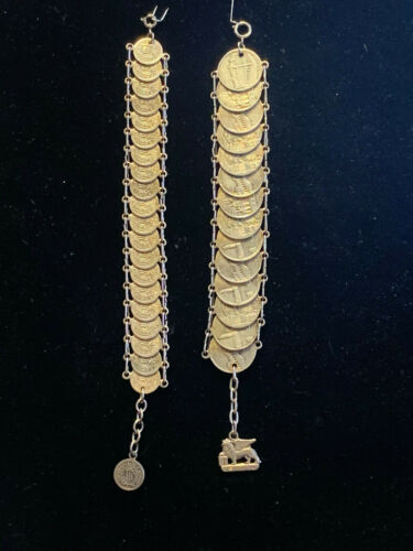Vtg Souvenir Silver In TONE Coin Bracelets Of Italy Marino And Venezia