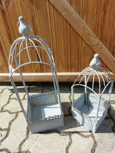 Vogelkäfig  Antik grau eckig 53 cm Hoch Floristik Garten NEU