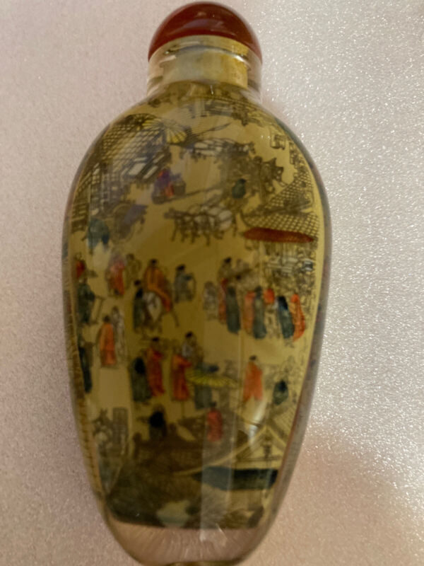 VINTAGE CHINESE REVERSE PAINTING SNUFF BOTTLE