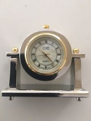 Miniature Brass Quartz Desk Clock-USA Vendor-Brand New
