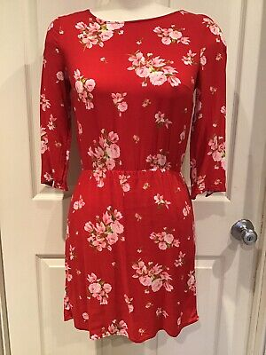 Red Floral Divided H&M Sz 4 Small Dress EUC