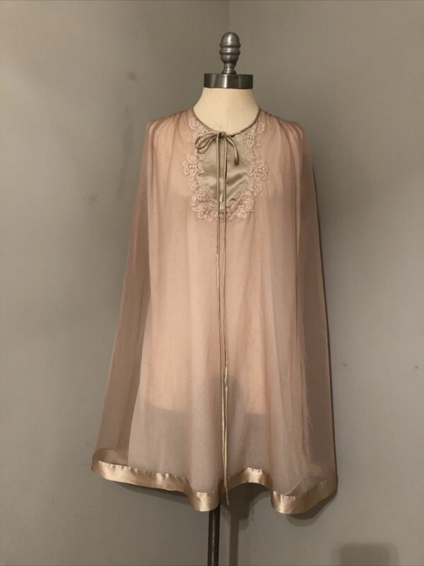 VTG 60s Gossard Artemis Baby Doll Nightgown Nylon & Chiffon Lace Satin Trim M