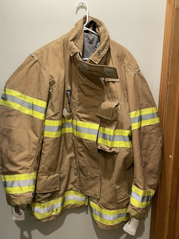 PPFD Inno-Tex Turnout Firefighter Brown Jacket Coat Yellow Tape LARGE