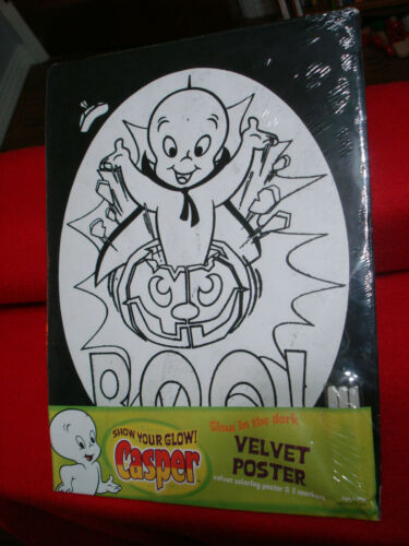 Casper Friendly Ghost Velvet Poster Coloring Posters Glow in Dark Halloween NEW