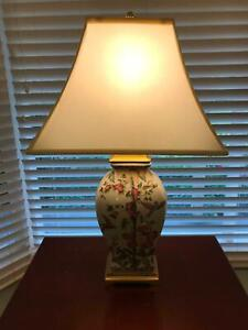 Lamp with patterned ceramic base & shade