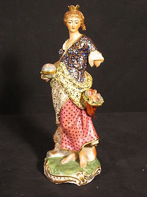 SIGNED Antique Porcelain Figurine Beautiful Lady With a Lion SELLING AS FOUND