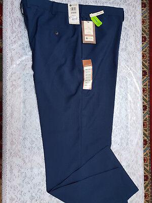 Navy Mens Plain Front Pants - NWT Haggar Men's Navy Blue Eclo Repreve Stria Plain Front Pants Size 42X32 $70