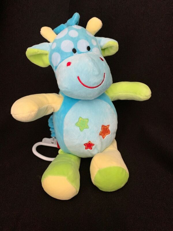 Linzy Blue Yellow Green Musical Giraffe With Stars Crib Toy