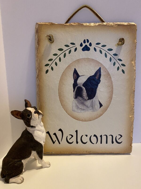 Boston Terrier Welcome Painted Slate Sign with Dog Figure Sculpture Home Decor