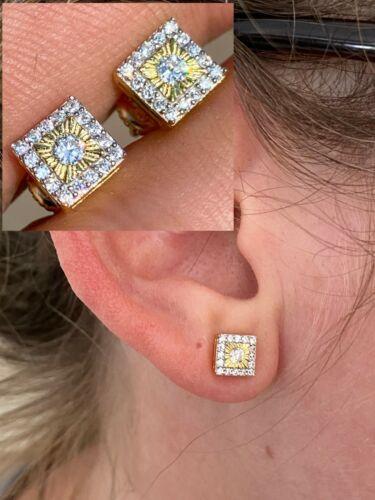 14k Gold Solid Sterling Silver Iced Diamond Cut Hip Hop Earrings Screw Back Stud