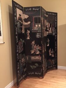 Antique Asian Four Panel Coromandel Room Divider/Screen