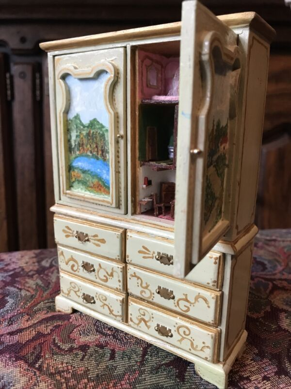 OOAK ARTISAN Melissa Blanco Hand Painted Baby House Dollhouse Cabinet 1:12
