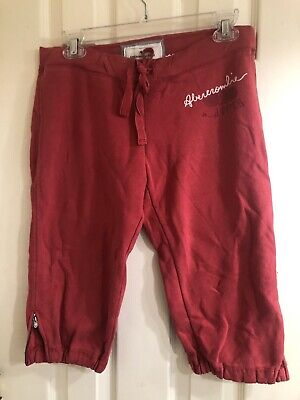 ABERCROMBIE & FITCH ATHLETIC COMFY DRAWSTRING CAPRI PANTS S Red