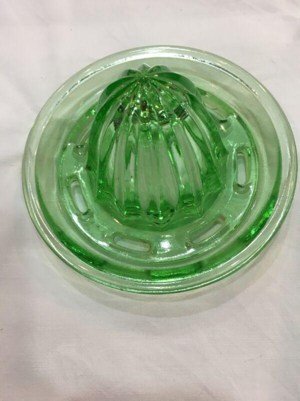 Jeannette Glass Co Green Glass Juice Reamer Top