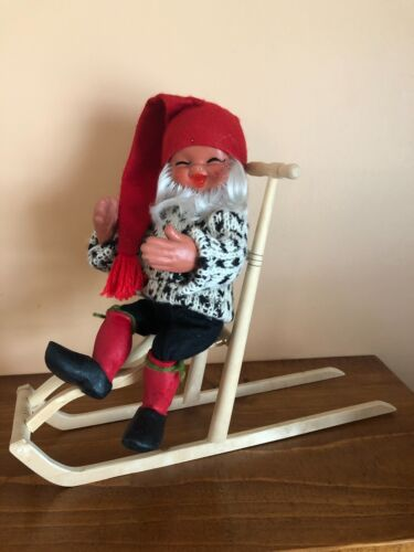 """Vintage Wooden Spark Kick Sled 14x10x4"""" Handmade Norway SLED ONLY NOT DOLL"""