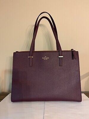 Kate Spade Cameron Street Large Jensen Mahogany Crosshatch leather