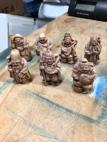 (7) vintage gods of good fortune chalkware figurines