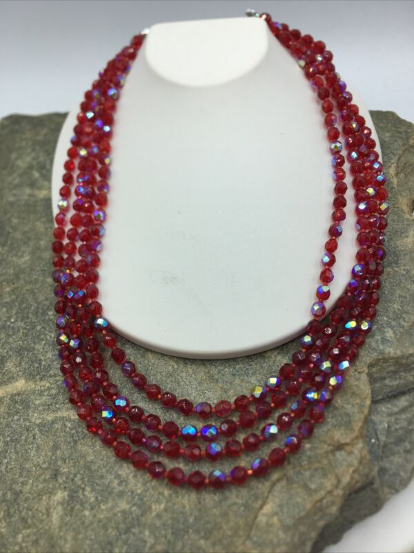 VINTAGE 50'S Multi 4 STRAND Beautiful Glass BEADED NECKLACE  #FN849