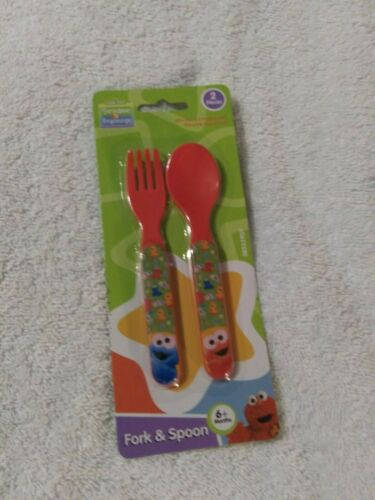 Sesame Street Beginnings Red Elmo & Cookie Monster Fork & Spoon (6 Months+)- NEW