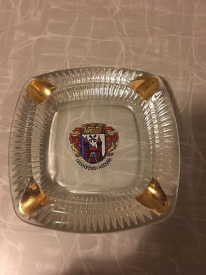 Ladenburg Neckar Ashtray Germany Glass Coat Of Arms Gold Souvenir Euc