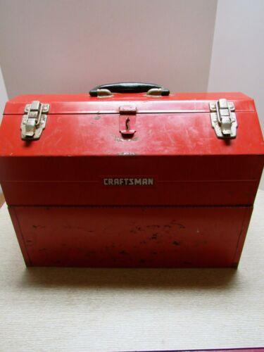 LARGE VINTAGE CRAFTSMAN TOOL BOX..MULTI TRAY..TOMBSTONE TOP