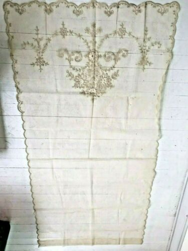 """Lovely Antique Victorian French Net Tambour Embroidery Curtain Panel 37"""" x 75"""""""