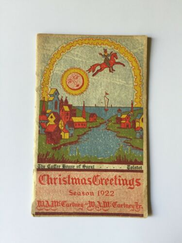 TEXARKANA 1922 W. A. MCCARTNEY & SON CHRISTMAS GREETINGS COFFEE HOUSE OF SURAT