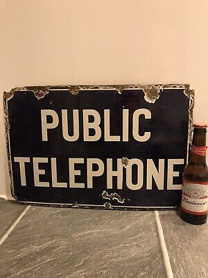 Enamel Sign Vintage Antique Public Telephone Collectable Advertising Rare Old