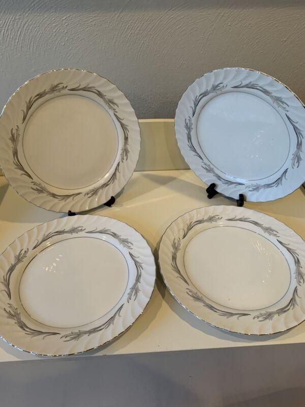 4 Harmony House PLATINUM SCROLL Dinner Plates Fine China 3643