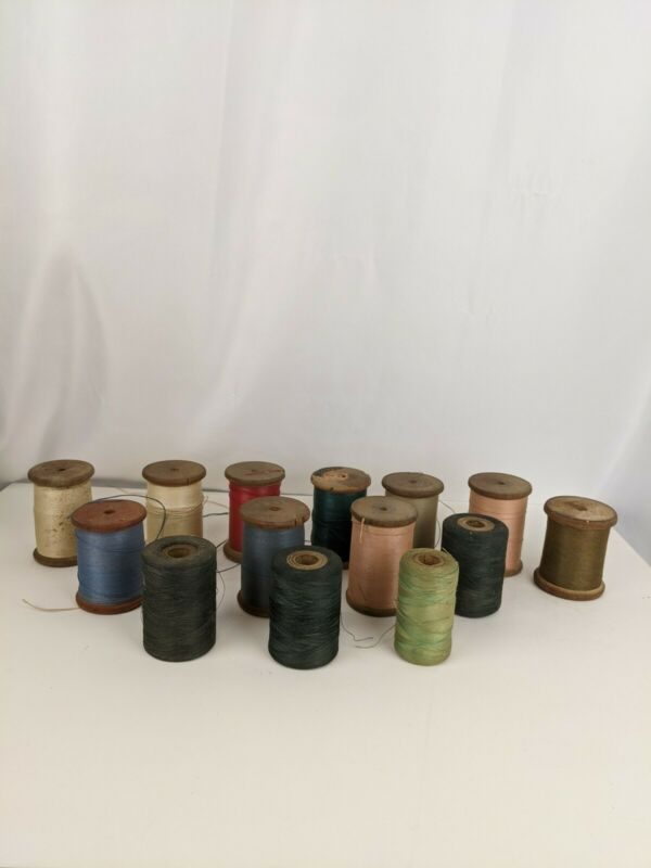 14 VINTAGE ANTIQUE WOODEN SEWING THREAD SPOOLS ##