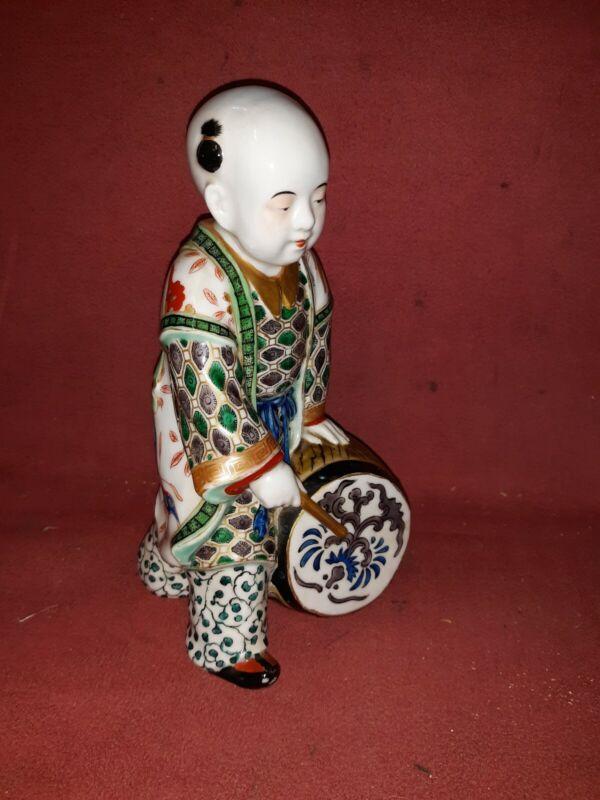 Antique Japanese Kutani Porcelain Figure of Boy with Drum