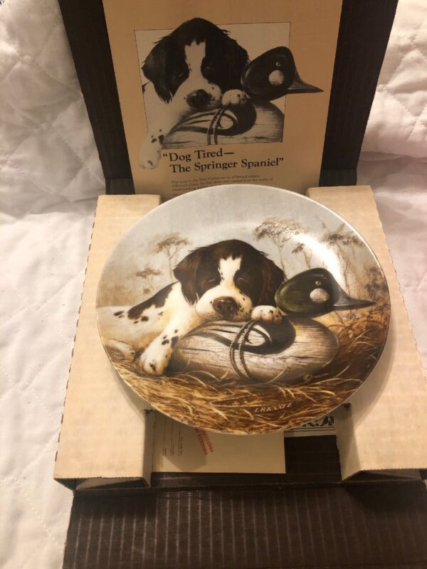 """Dog Tired"" The Springer Spaniel Collector Plate LYNN KAATZ - 1988 - Knowles"