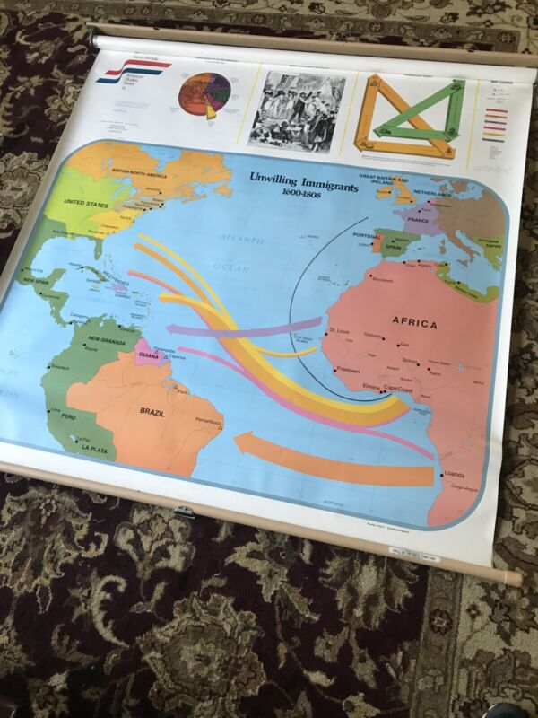 """Rand Mcnally School Roll Up Wall Map """" Unwilling Immigrants"""" Slave Trade."""