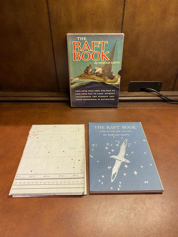 The Raft Book by Harold Gatty Slipcase w/ Map 1943