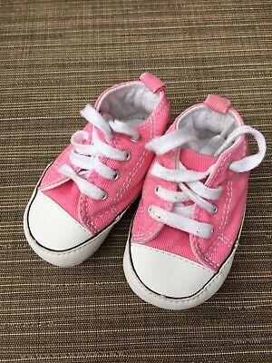 CONVERSE ALL STAR NEWBORN Pink 88871 FIRST BABY CRIB SHOES SZ 2 BOOTIES