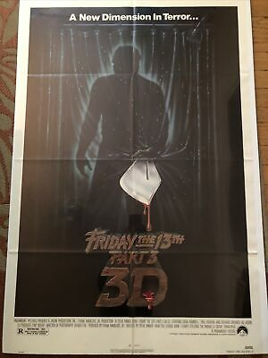 VINTAGE MOVIE POSTER 1982 FRIDAY THE 13TH PART 3 3D 41 X 27 HALLOWEEN Slasher