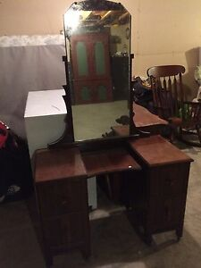 Antique makeup desk with mirror