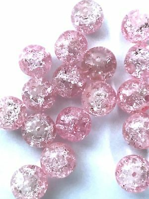 200 PCS 6mm pink crack bead glass round spacer beads jewelry crackle 81p craft