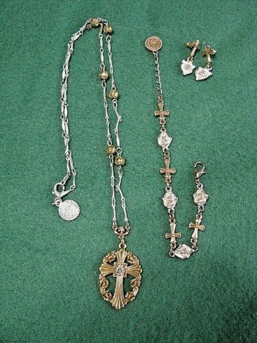 Lovely Vatican Library Necklace, Bracelet & Earrings Set-Gold and Silver-WOW
