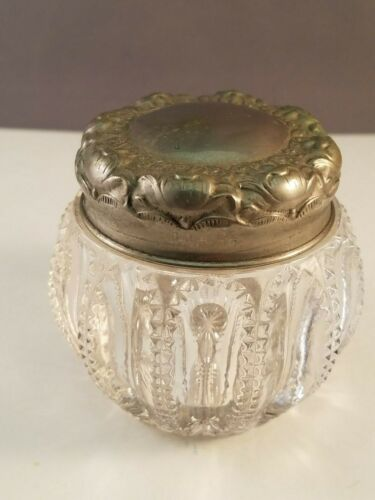 Vintage Ornate Glass Dresser Jar with Lid