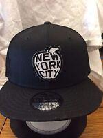393dd7a7b0413 New Era NE400 Black Flat Brim Snapback Hat Cap w New York City Big Apple