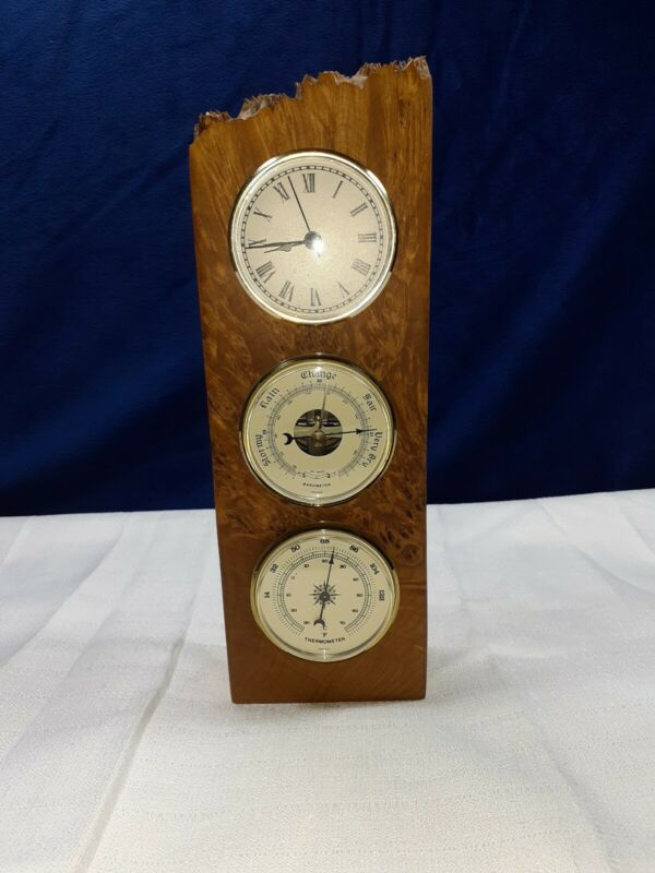 CHARLES ELKAN Nautical Maple Burlwood, Clock, Thermometer, Barometer W. Station