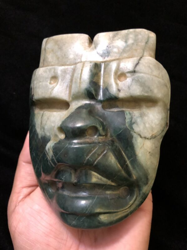 Pre-Columbian, Mexico, Large Olmec Were-Jaguar Greenstone Mask