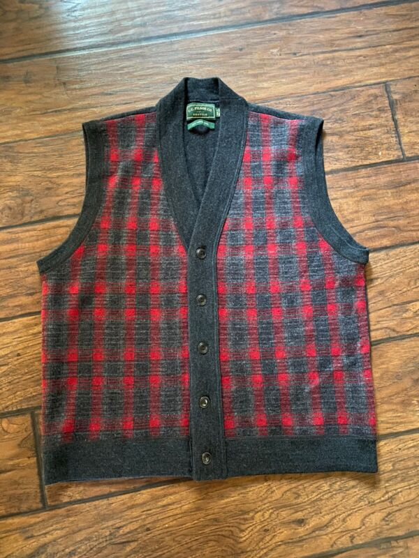 Filson 100% Merino Wool Vest Vintage Large Lightweight Plaid Gray