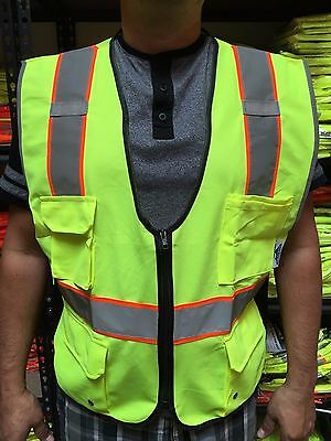 High Visibility Lime Two Tones Safety Vest Ansi Isea 107-2015