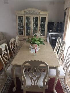 French Provincial Dining Table Wall Unit Glass Bar Part 72