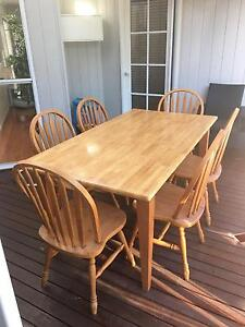 Solid wood dining table and chairs Buderim Maroochydore Area Preview