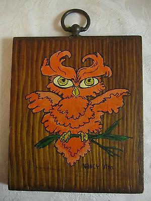 Vintage Original Painting Fantastic Orange Owl – on wood – signed Nancy Vito