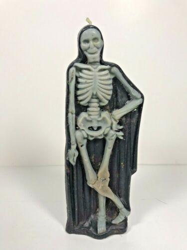 """Gurley Halloween Death Skeleton In Black Shroud Robe 8.5"""" Vintage Candle Reaper"""