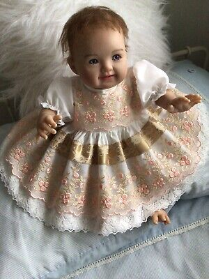 """CLOTHES FOR BAby 0-3mths /REBORN 16"""" Two piece dress set.Ivory/voile Lace .New"""